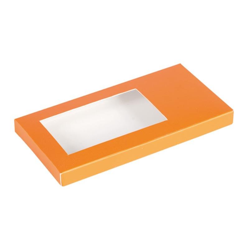Étuis tablette orange personnalisable avec fenêtre transparente