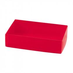 Boîte macaron acidulée rouge personnalisable fournie avec accessoire