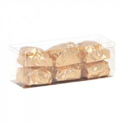 Boîte PVC transparent alimentaire personnalisable avec carte or