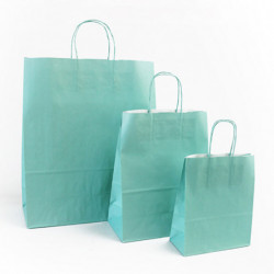 Ensemble sacs kraft shopping vert d'eau