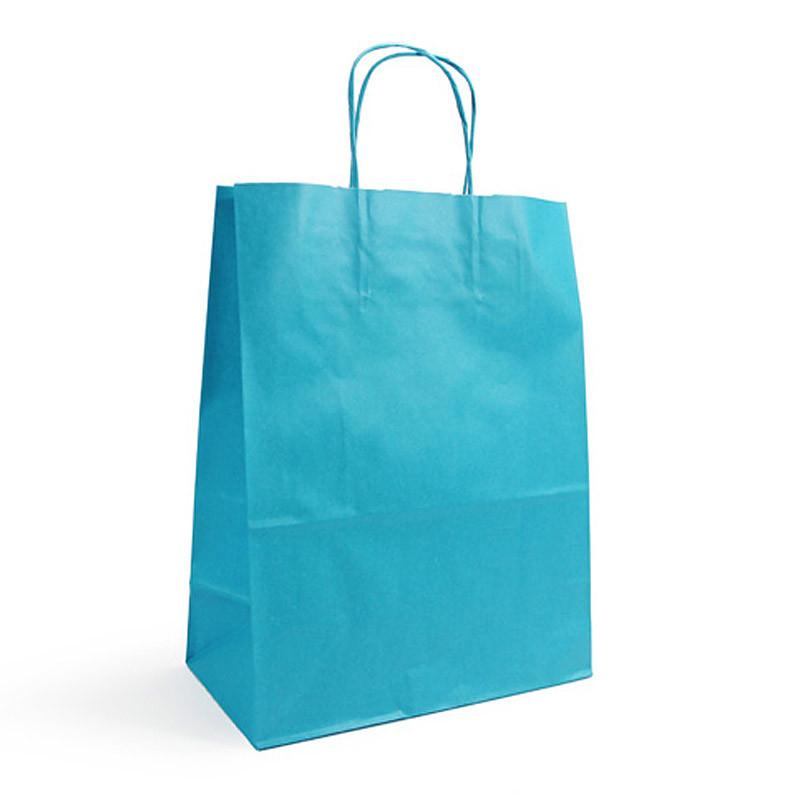 Sac kraft shopping turquoise T1