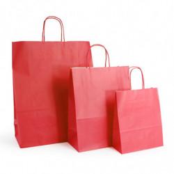 Ensemble sacs kraft shopping rouge