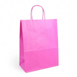 Sac kraft shopping rose  T1