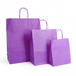 Ensemble sacs kraft shopping violet  T1