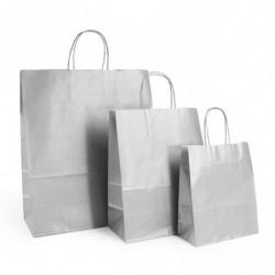 Ensemble sacs kraft shopping argent