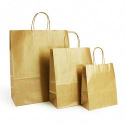 Ensemble sacs kraft shopping or