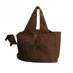 Sac réutilisable en nylon avec pochette de rangement marron