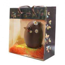Sac pelliculé avec fenêtre à motif 'Cabosses' avec oeuf en chocolat