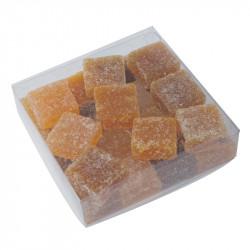 Boîte carrée PVC transparent alimentaire personnalisable avec carte or